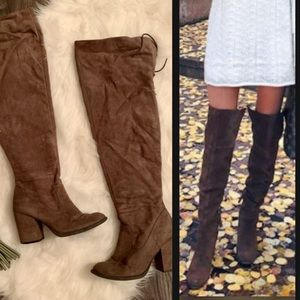 GET THE LOOK! EUC over the knee faux suede boots